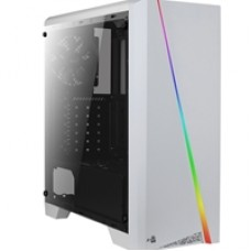 Aerocool Cylon Mid Tower 1 x USB 3.0 / 2 x USB 2.0 Tempered Glass Side Window Panel White Case with RGB LED Illumination