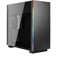 Aerocool Glo Mid Tower 2 x USB 3.0 Tempered Glass Side Window Panel Black Case with RGB LED Illumination