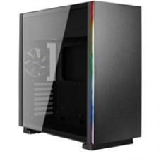 Aerocool Glo Mid Tower 2 x USB 3.0 Tempered Glass Side Window Panel Black Case with RGB LED Illumination