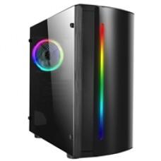 CiT Beam Micro Tower 2 x USB 2.0 Acrylic Side Window Panel Black Case with RGB LED Strip & Fan