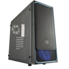 Cooler Master MasterBox E500L Mid Tower 2 x USB 3.0 Side Window Panel Black Case with Blue Trim & Blue LED Fan