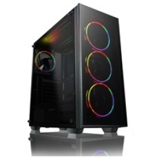 Game Max Crusader Mid Tower 2 x USB 3.0 / 1 x USB 2.0 Tempered Glass Side & Front Window Panel Black Case with Game Max Mirage Addressable RGB LED Fans