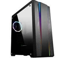 Game Max Demolition Mid Tower 2 x USB 3.0 / 2 x USB 2.0 Tempered Glass Side Window Panel Black Case with RGB LED Fan & Illumination