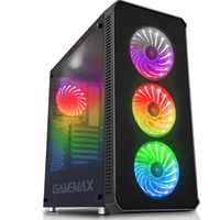 Game Max Moonstone Mid Tower 2 x USB 3.0 / 2 x USB 2.0 Tempered Glass Sides & Front Window Panels Black Case with RGB LED Fans