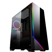 Game Max Shadow Mid Tower 2 x USB 3.0 Tempered Glass Side Window Panel Black Case with RGB LED Fan & Illumination
