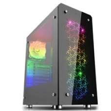 Game Max Sirius Mid Tower 2 x USB 3.0 2 x Tempered Glass Side Window Panels Black Case with RGB LED Fans