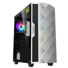 Game Max White Diamond Mid Tower 1 x USB 3.0 / 1 x USB 2.0 Tempered Glass Side Window Panel White Case with Addressable RGB LED Lighting & Fan