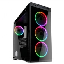 Kolink Horizon Mid Tower 2 x USB 3.0 / 1 x USB 2.0 Tempered Glass Side & Front Window Panel Black Case with RGB LED Fans