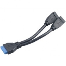 Akasa AK-CBUB09-15BK USB 3.0 19-Pin (M) to 2 x USB 3.0 A (F + F) 0.15m Black Retail Packaged Internal Splitter Cable