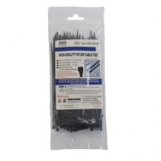 Evo Labs 100 Pack of 150 x 2.5mm Black Retail Packaged Cable Ties