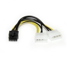 StarTech 2 x 4-pin Molex (M + M) to 8-pin PCIe (M) 0.15m Retail Packaged Internal Splitter Cable
