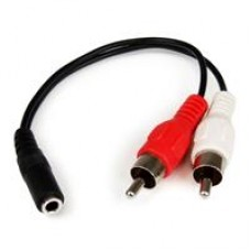 StarTech 3.5mm (F) Stereo Jack to 2 x RCA (M + M) Stereo Splitter 0.15m Black Retail Packaged Cable