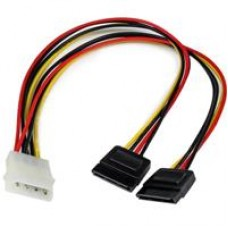 StarTech 4-pin Molex (M) to 2 x SATA Power (F + F) 0.3m Retail Packaged Internal Splitter Cable