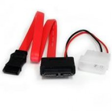 StarTech Slimline SATA (F) to SATA (F) & 4-pin Molex (M) 0.30m Red Retail Packaged Internal Splitter Cable