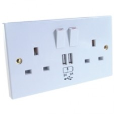 2 Way UK Wall Power Socket Faceplate with 2 x USB Charging Ports White