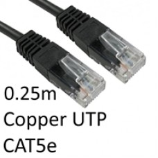 RJ45 (M) to RJ45 (M) CAT5e 0.25m Black OEM Moulded Boot Copper UTP Network Cable