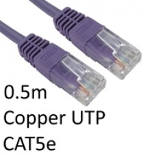 RJ45 (M) to RJ45 (M) CAT5e 0.5m Violet OEM Moulded Boot Copper UTP Network Cable