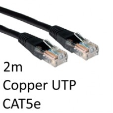 RJ45 (M) to RJ45 (M) CAT5e 2m Black OEM Moulded Boot Copper UTP Network Cable