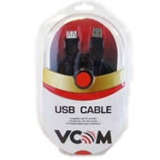 VCOM USB 2.0 A (M) to USB 2.0 A (F) 3m Black Retail Packaged Extension Data Cable