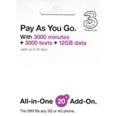 Three All in One SIM 12GB