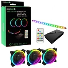 Game Max Addressable RGB 3-in-1 Kit with 3 Velocity Fans, 0.3m Viper LED Strip & PWM Fan Hub with RF Remote Control