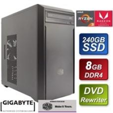 Cooler Master AMD Ryzen 2200G 3.5GHZ Quad Core 8GB DDR4 RAM 240GB Gigabyte SSD Pre-Built System