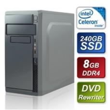 Intel G3930 2.90GHz Dual Core 8GB RAM 240GB Gigabyte SSD DVDRW 80 Cert PSU Prebuilt System