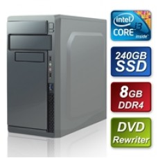 Intel i3-8100 3.6GHz Quad Core 240GB SSD 8GB DRR4 RAM PSU DVDRW  Pre-Built System