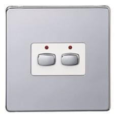 Energenie MIHO072 Energenie MiHome 2-Gang Light Switch Chrome